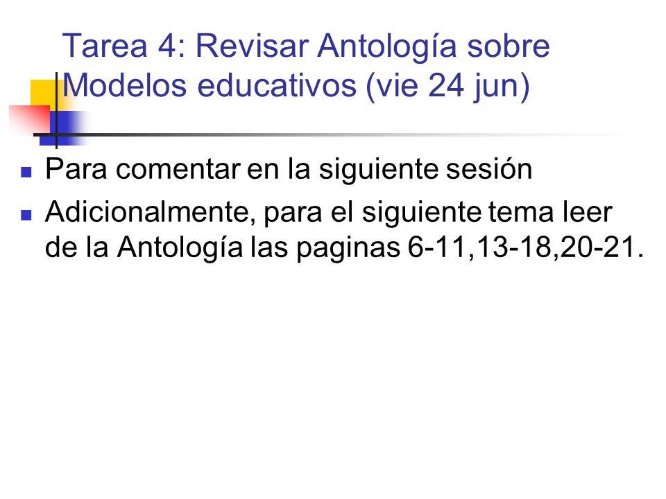 Tarea 4: Revisar Antología sobre Modelos educativos (vie 24 jun)