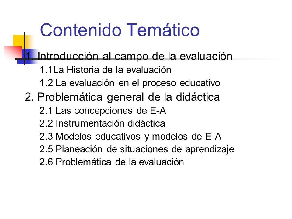 Contenido Temático 1. Introducción al campo de la evaluación