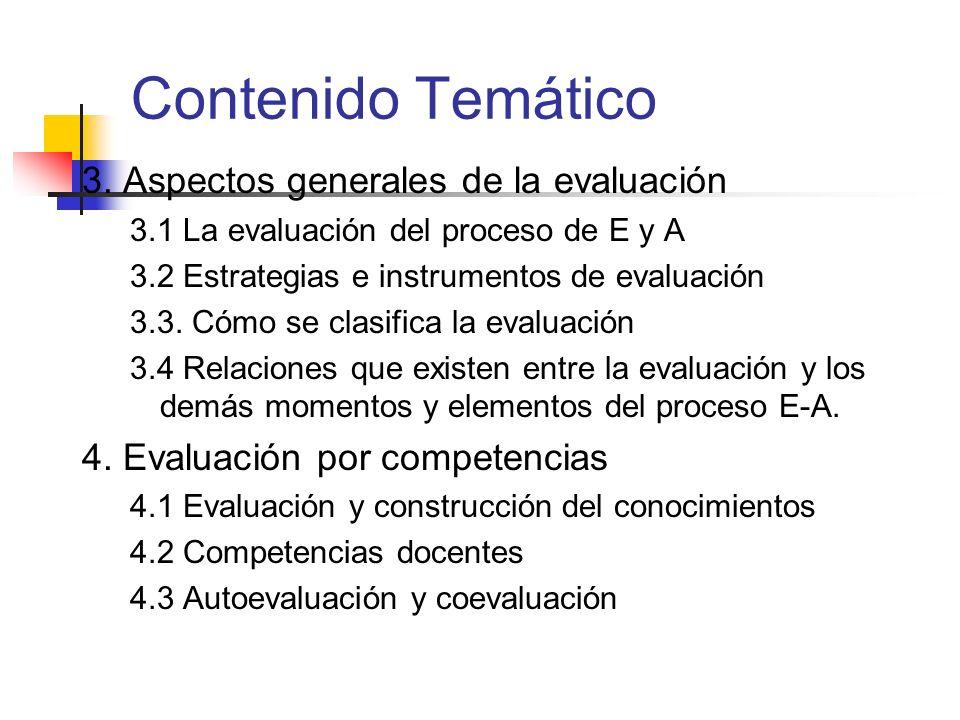 Contenido Temático 3. Aspectos generales de la evaluación