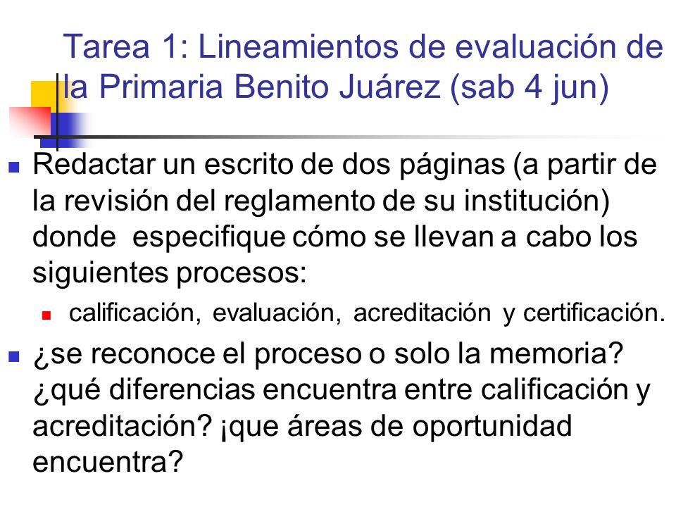 Tarea 1: Lineamientos de evaluación de la Primaria Benito Juárez (sab 4 jun)
