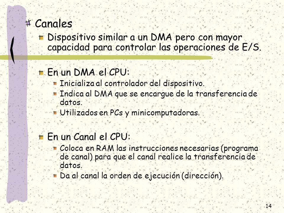 Canales Dispositivo similar a un DMA pero con mayor capacidad para controlar las operaciones de E/S.