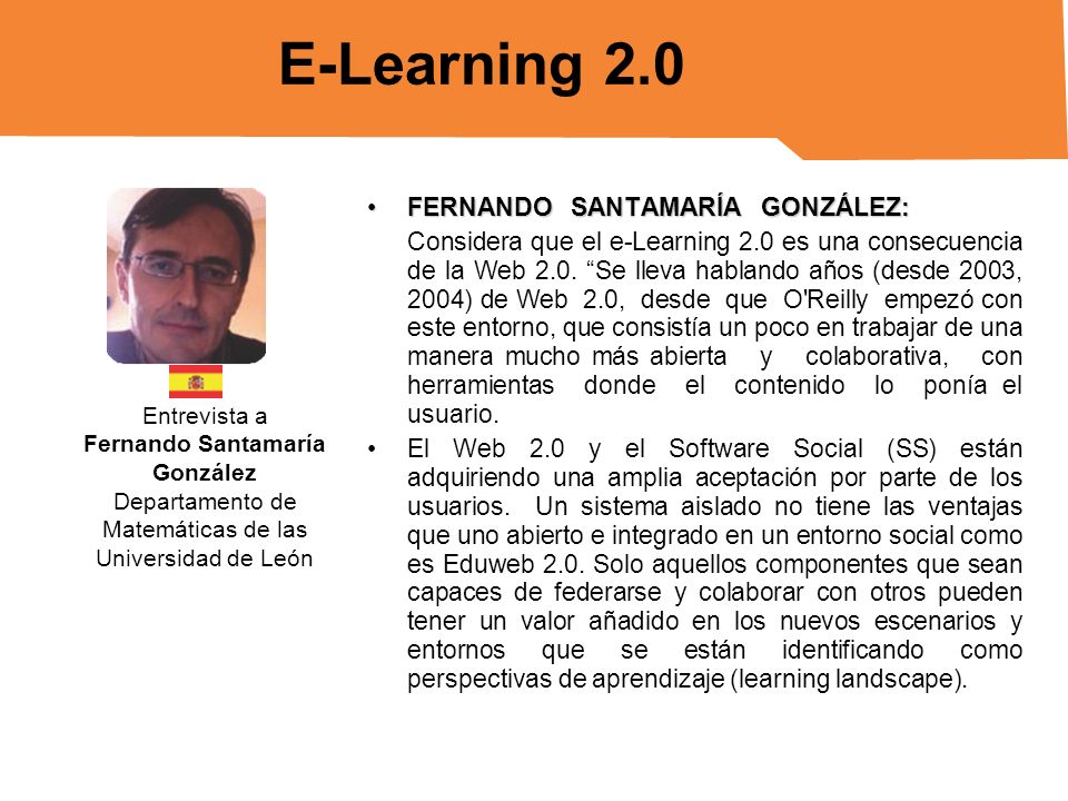 E-Learning 2.0 FERNANDO SANTAMARÍA GONZÁLEZ: