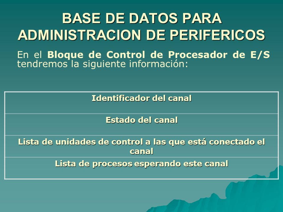 BASE DE DATOS PARA ADMINISTRACION DE PERIFERICOS