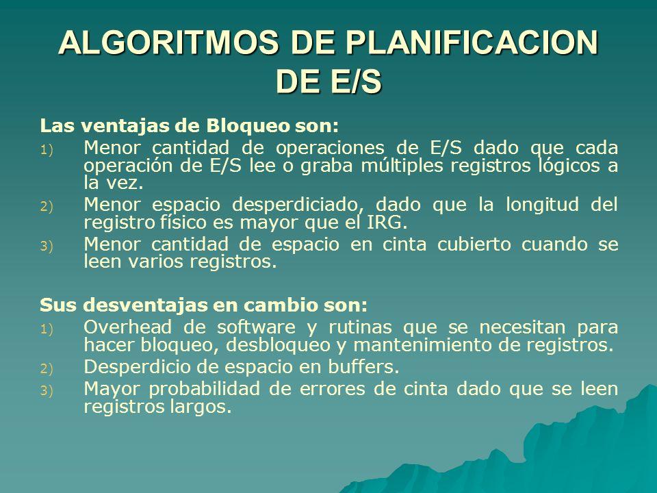 ALGORITMOS DE PLANIFICACION DE E/S