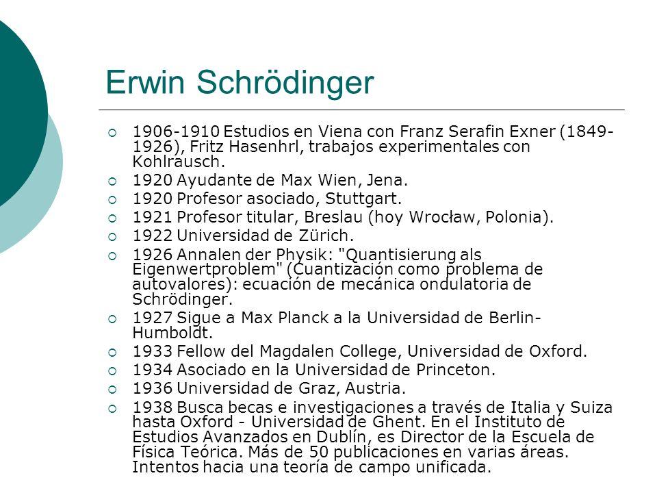 Erwin Schrödinger 1906-1910 Estudios en Viena con Franz Serafin Exner (1849-1926), Fritz Hasenhrl, trabajos experimentales con Kohlrausch.