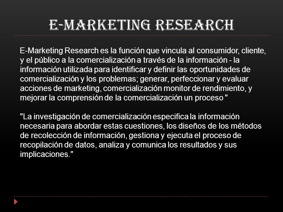 E-MARKETING RESEARCH