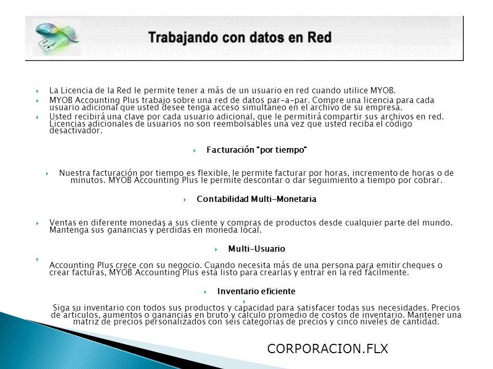 La Licencia de la Red le permite tener a más de un usuario en red cuando utilice MYOB.