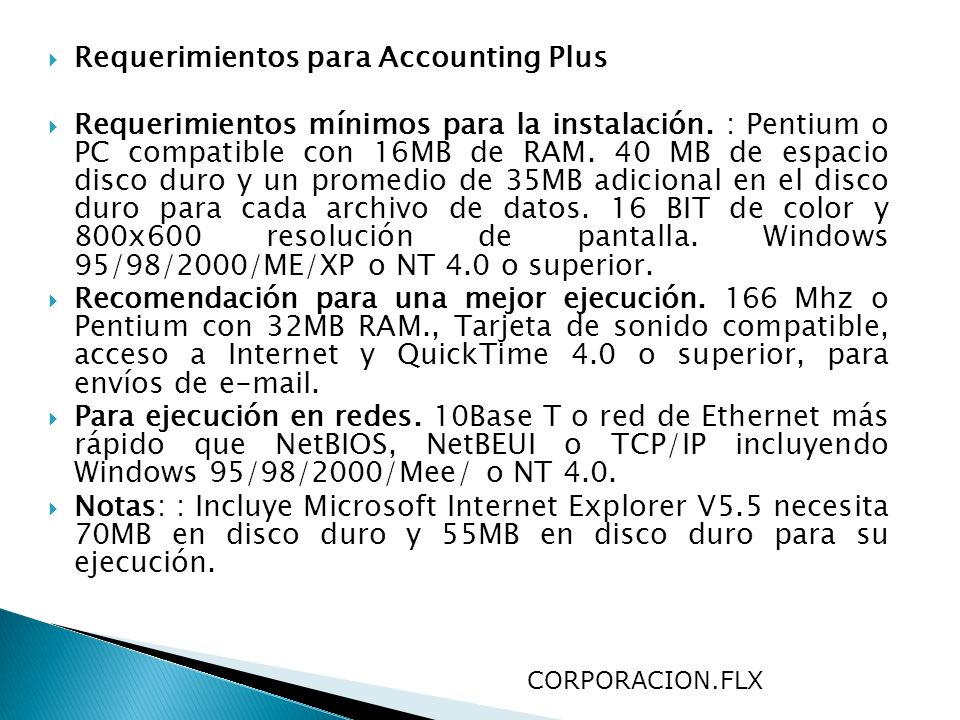 Requerimientos para Accounting Plus
