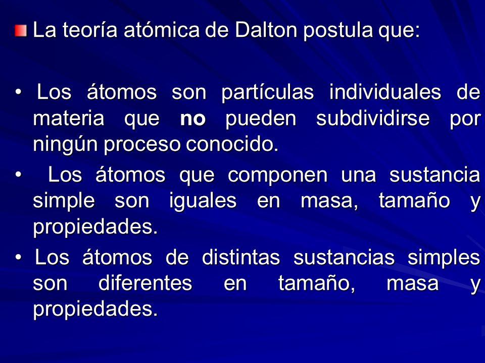La teoría atómica de Dalton postula que: