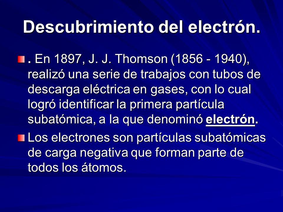 Descubrimiento del electrón.