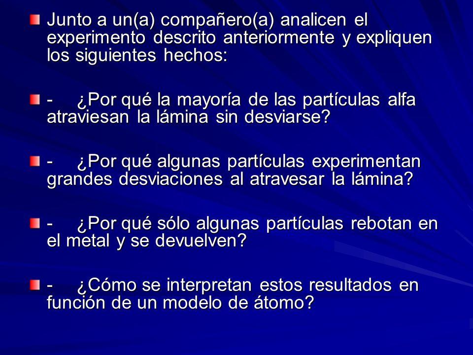 Junto a un(a) compañero(a) analicen el experimento descrito anteriormente y expliquen los siguientes hechos: