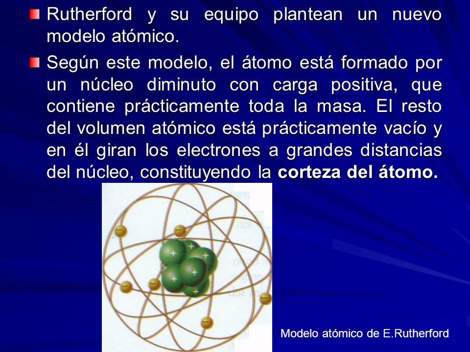 Rutherford y su equipo plantean un nuevo modelo atómico.