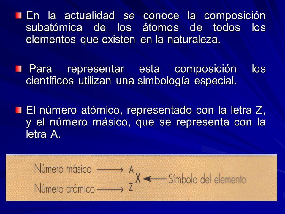 En la actualidad se conoce la composición subatómica de los átomos de todos los elementos que existen en la naturaleza.