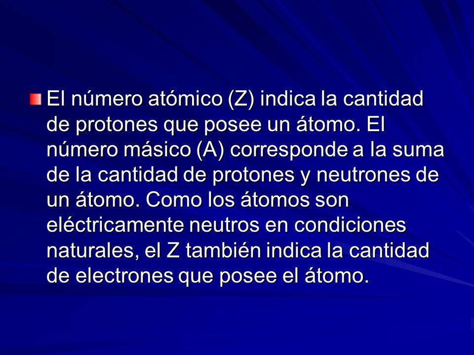 El número atómico (Z) indica la cantidad de protones que posee un átomo.