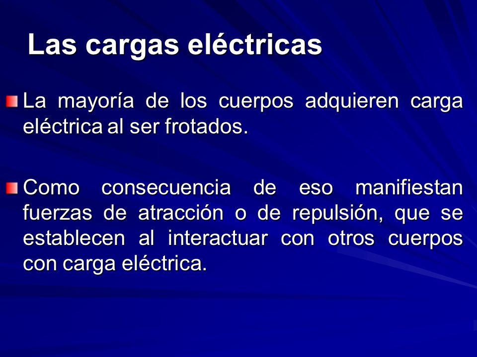 Las cargas eléctricas La mayoría de los cuerpos adquieren carga eléctrica al ser frotados.