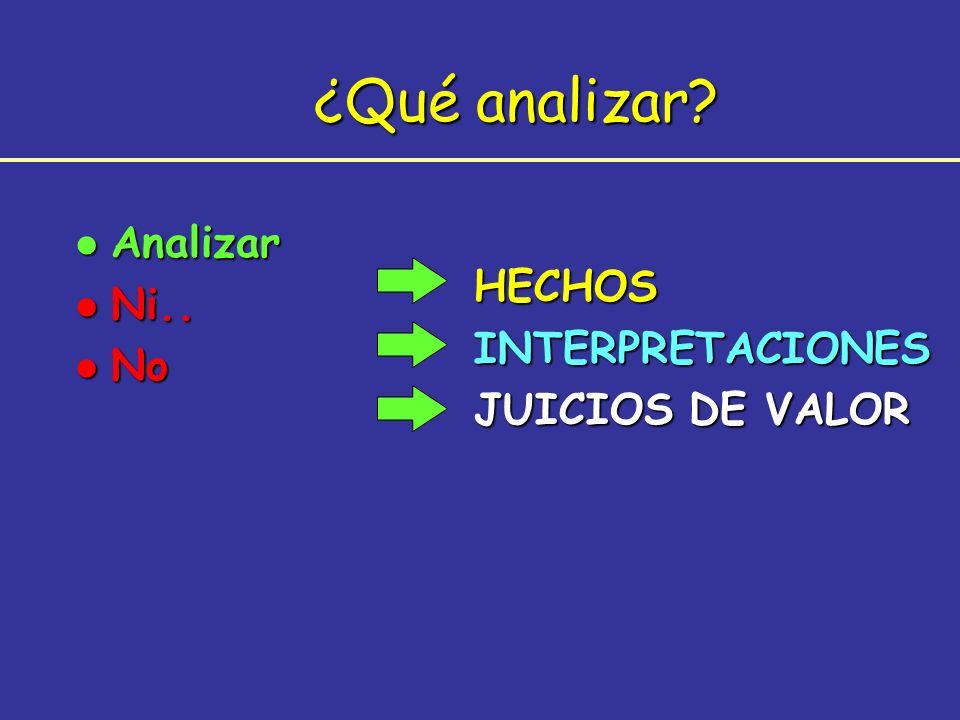 ¿Qué analizar Analizar Ni.. HECHOS No INTERPRETACIONES