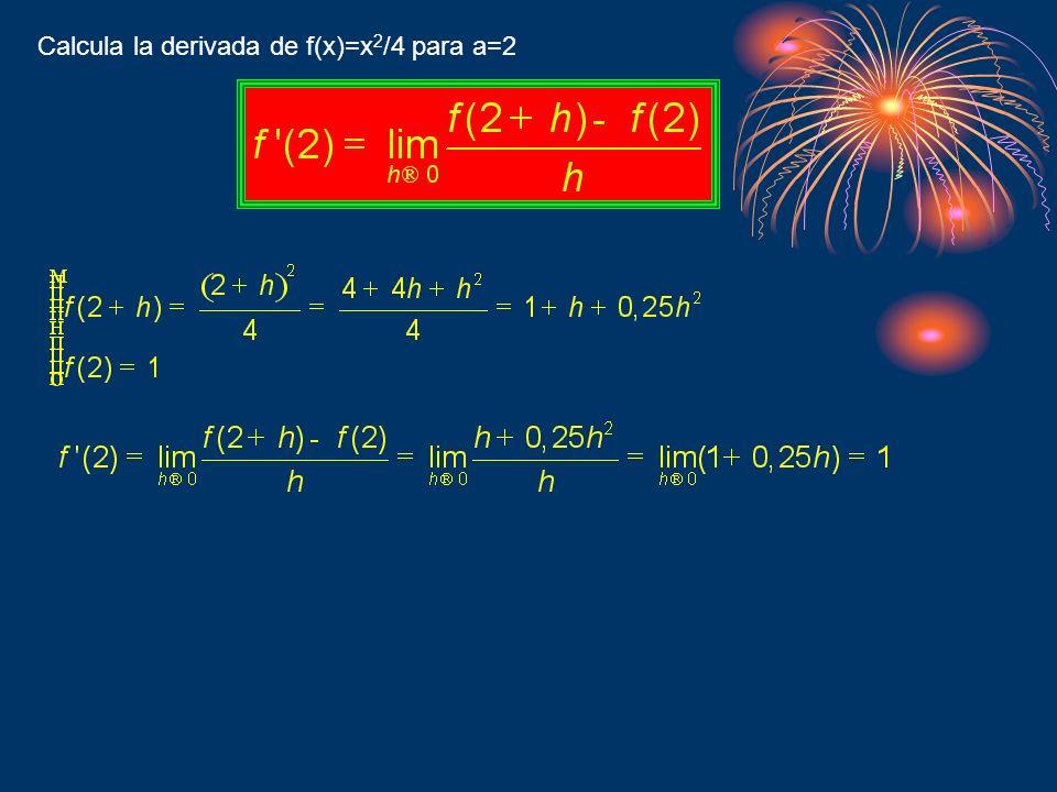 Calcula la derivada de f(x)=x2/4 para a=2