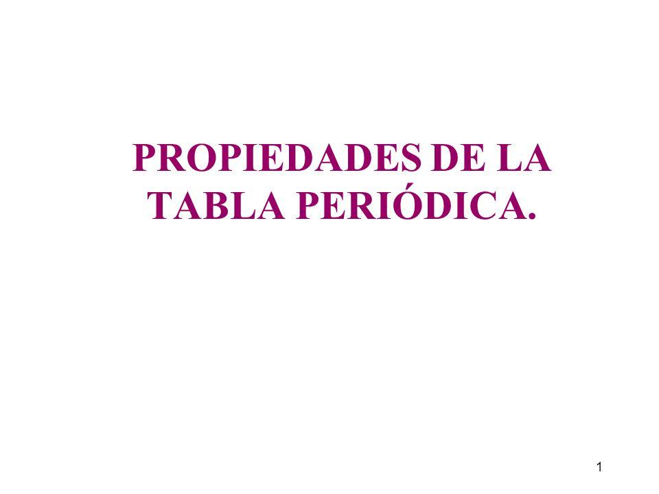 PROPIEDADES DE LA TABLA PERIÓDICA.