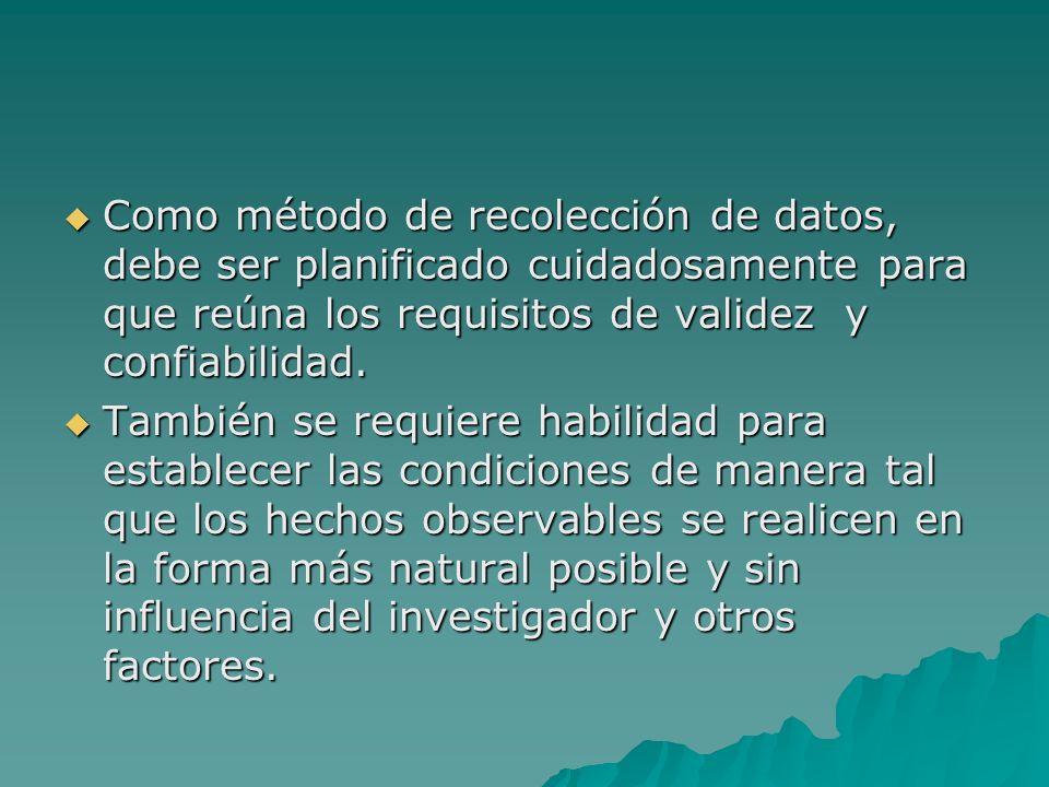 Como método de recolección de datos, debe ser planificado cuidadosamente para que reúna los requisitos de validez y confiabilidad.