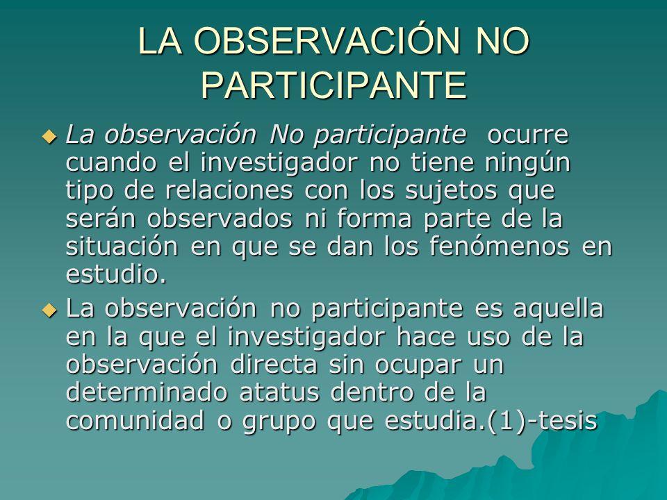 LA OBSERVACIÓN NO PARTICIPANTE