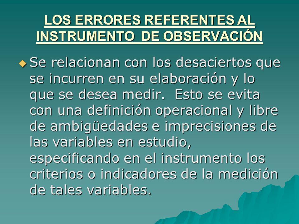 LOS ERRORES REFERENTES AL INSTRUMENTO DE OBSERVACIÓN