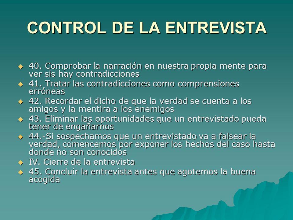 CONTROL DE LA ENTREVISTA