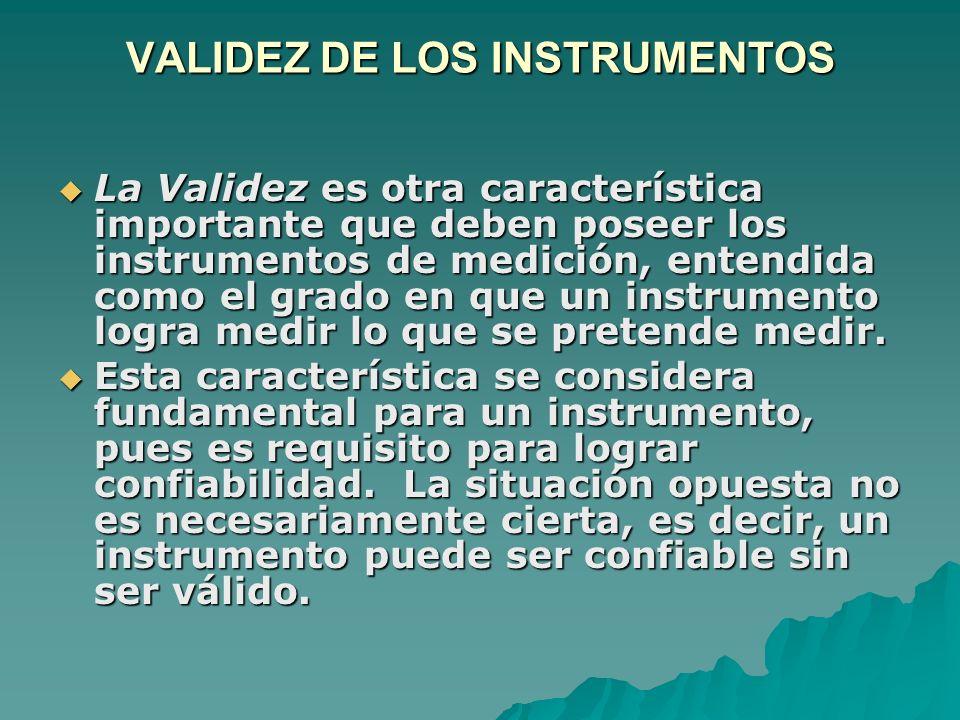 VALIDEZ DE LOS INSTRUMENTOS