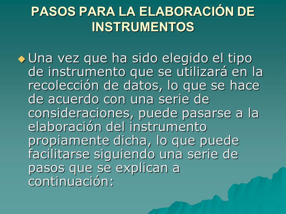 PASOS PARA LA ELABORACIÓN DE INSTRUMENTOS