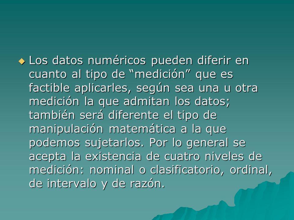 Los datos numéricos pueden diferir en cuanto al tipo de medición que es factible aplicarles, según sea una u otra medición la que admitan los datos; también será diferente el tipo de manipulación matemática a la que podemos sujetarlos.