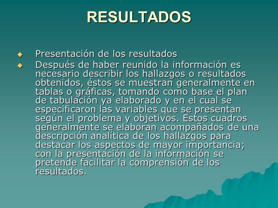 RESULTADOS Presentación de los resultados
