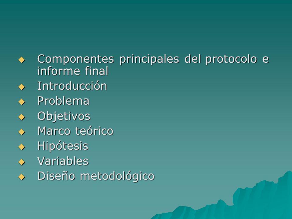 Componentes principales del protocolo e informe final