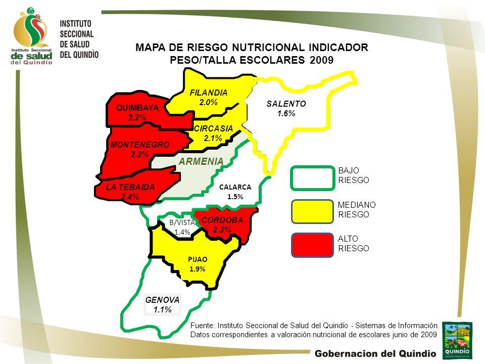 MAPA DE RIESGO NUTRICIONAL INDICADOR PESO/TALLA ESCOLARES 2009