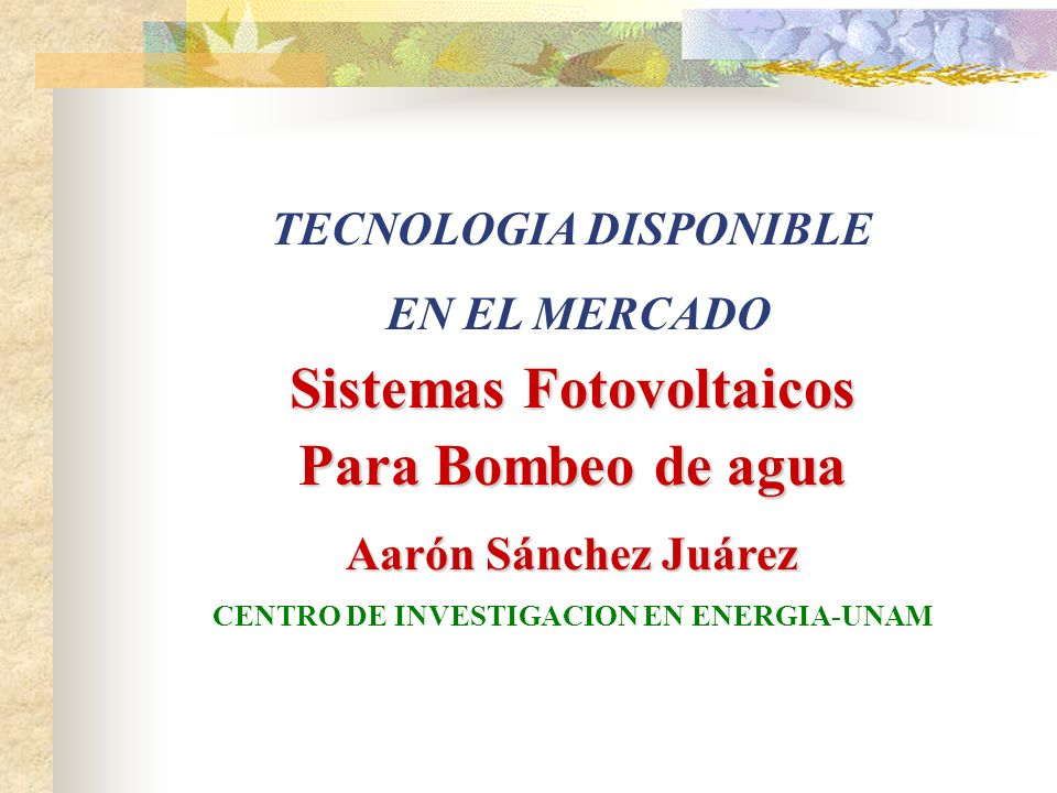 Sistemas Fotovoltaicos Para Bombeo de agua