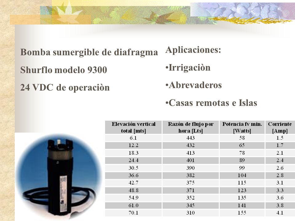 Aplicaciones:Irrigaciòn. Abrevaderos. Casas remotas e Islas. Bomba sumergible de diafragma. Shurflo modelo 9300.