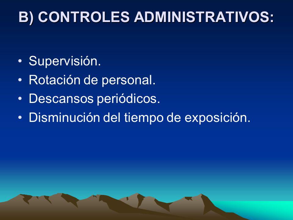 B) CONTROLES ADMINISTRATIVOS:
