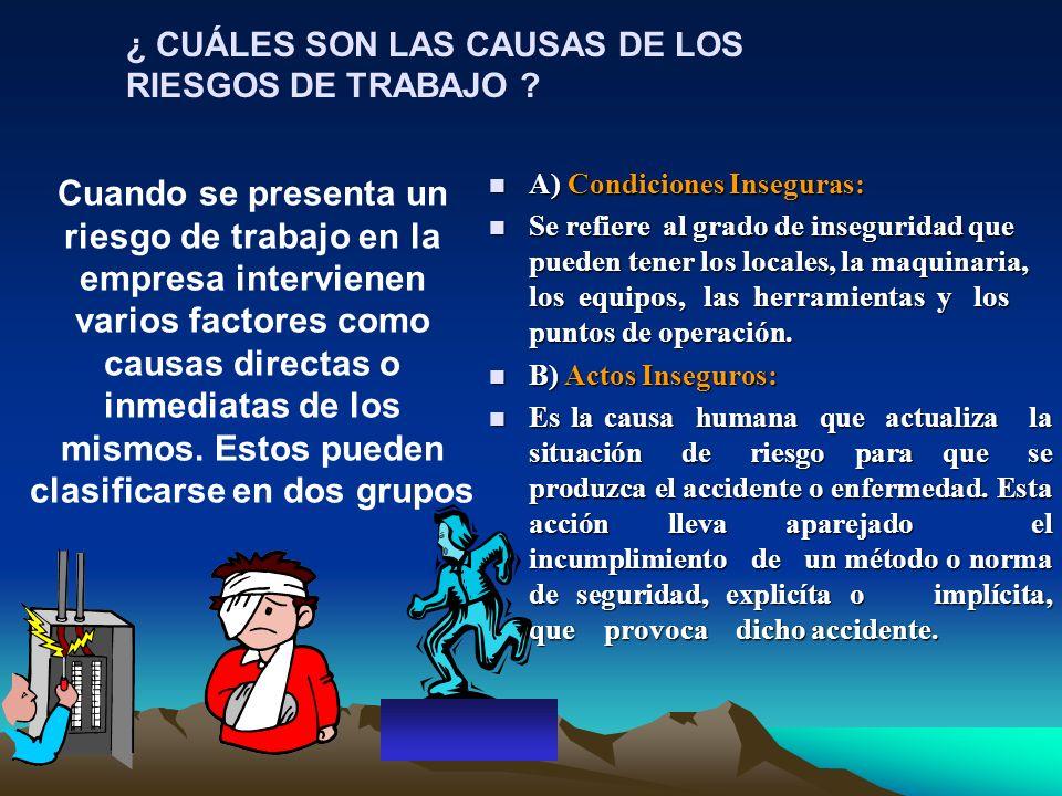 ¿ CUÁLES SON LAS CAUSAS DE LOS RIESGOS DE TRABAJO