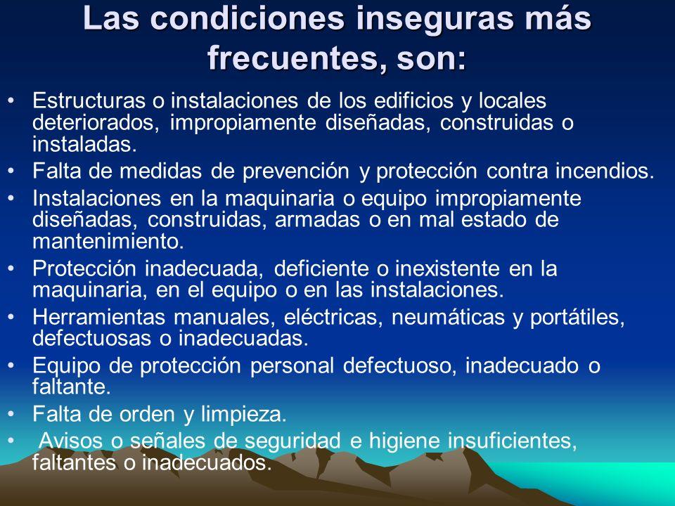 Las condiciones inseguras más frecuentes, son: