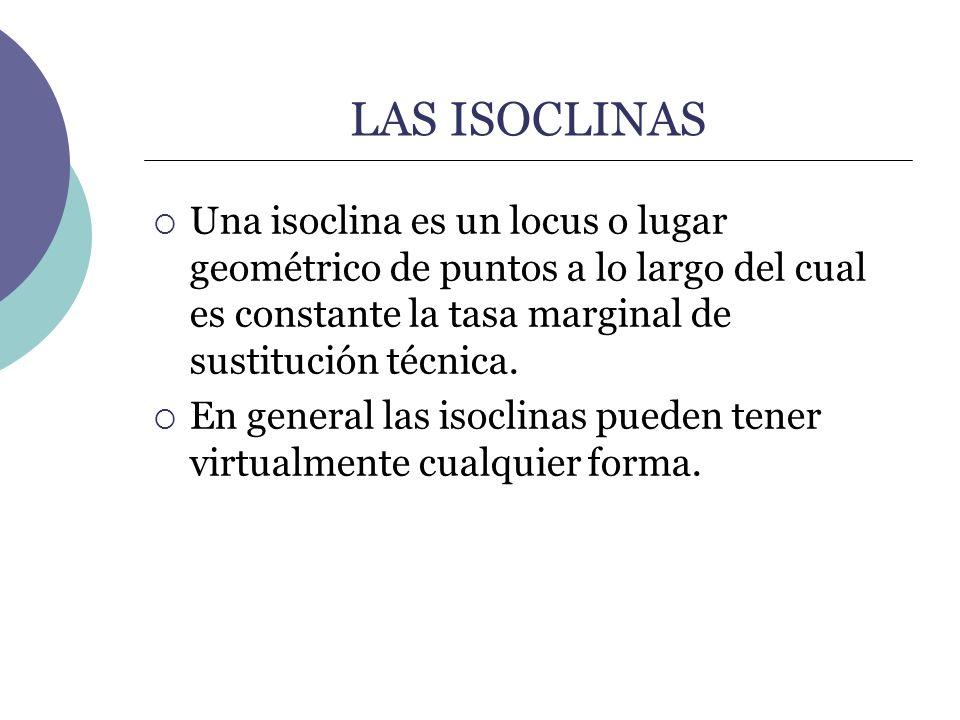 LAS ISOCLINAS Una isoclina es un locus o lugar geométrico de puntos a lo largo del cual es constante la tasa marginal de sustitución técnica.