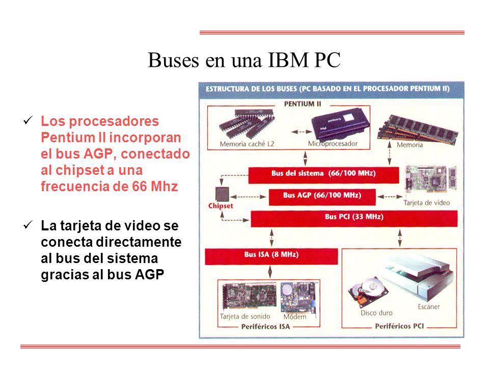 Buses en una IBM PC Los procesadores Pentium II incorporan el bus AGP, conectado al chipset a una frecuencia de 66 Mhz.