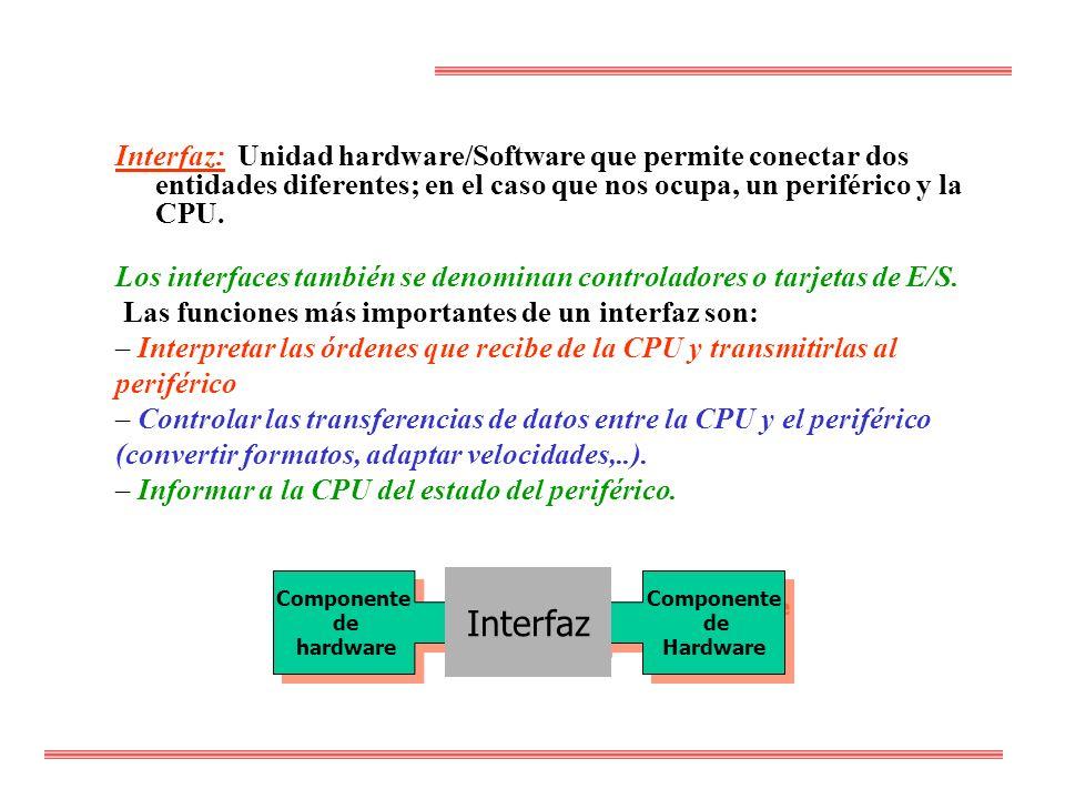 Interfaz: Unidad hardware/Software que permite conectar dos entidades diferentes; en el caso que nos ocupa, un periférico y la CPU.