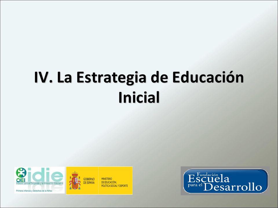 IV. La Estrategia de Educación Inicial