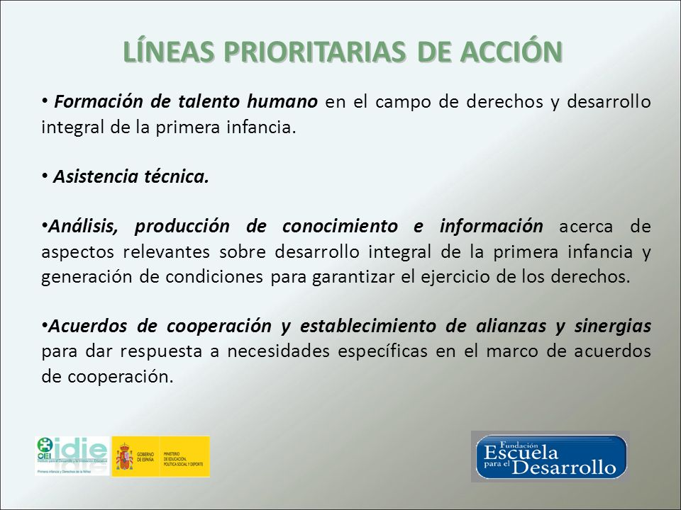 LÍNEAS PRIORITARIAS DE ACCIÓN