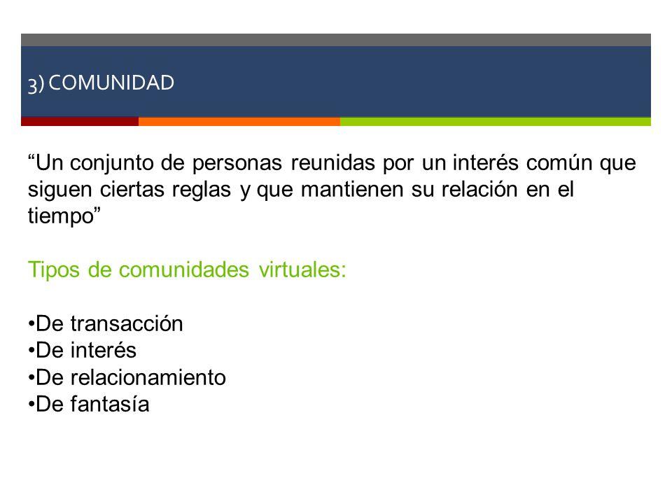 Tipos de comunidades virtuales: De transacción De interés