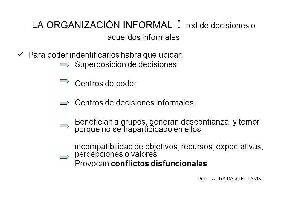 LA ORGANIZACIÓN INFORMAL : red de decisiones o acuerdos informales