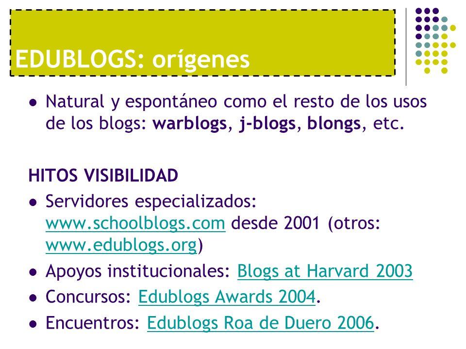 EDUBLOGS: orígenesNatural y espontáneo como el resto de los usos de los blogs: warblogs, j-blogs, blongs, etc.