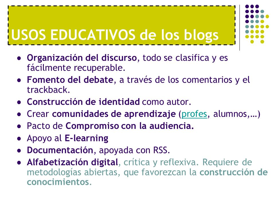 USOS EDUCATIVOS de los blogs
