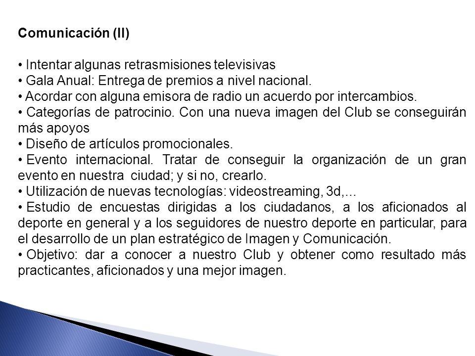 Comunicación (II) Intentar algunas retrasmisiones televisivas. Gala Anual: Entrega de premios a nivel nacional.