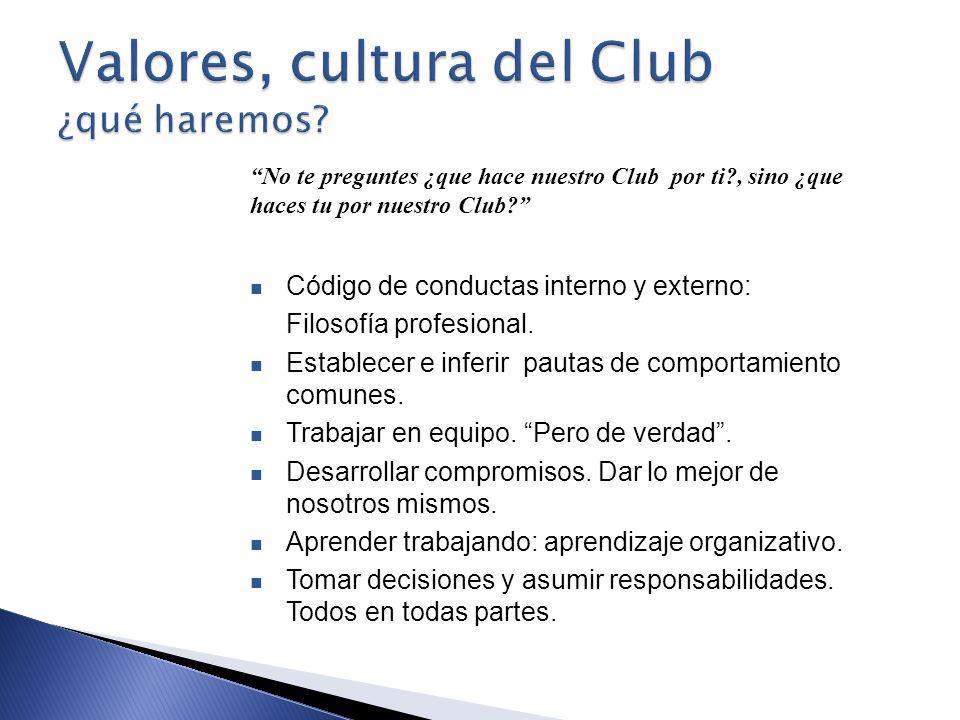 Valores, cultura del Club ¿qué haremos