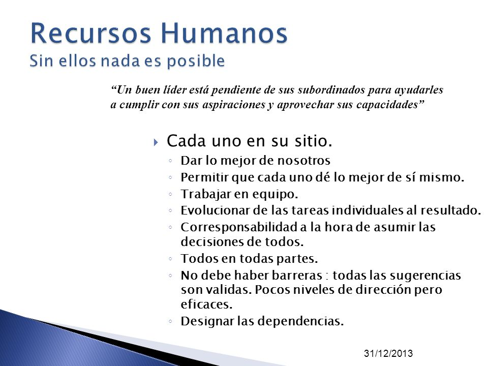 Recursos Humanos Sin ellos nada es posible