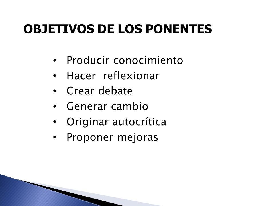 OBJETIVOS DE LOS PONENTES